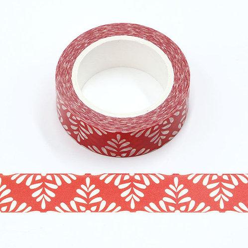 W523 - Masking tape rouge motif floral blanc