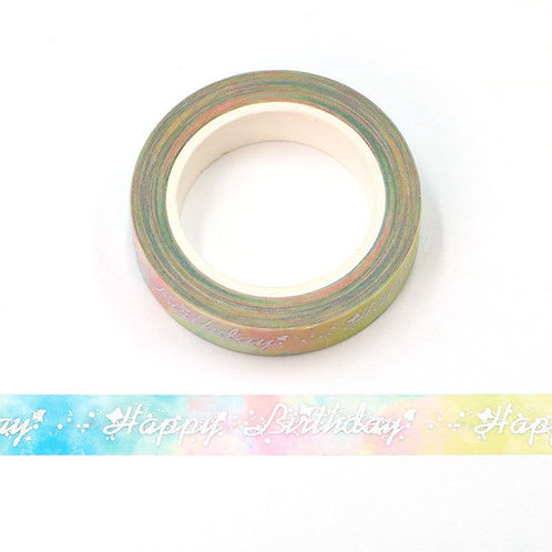 Masking tape  métallique 15 mm motif Happy Birthday