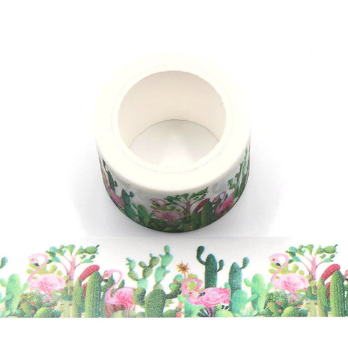 Masking tape paillettes tropical flamant rose, cactus jungle glitter  30mm