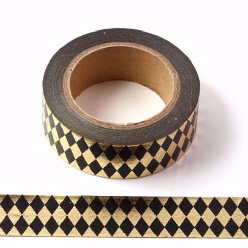 F019 - Masking tape métallique 15mm Foil doré losanges noirs