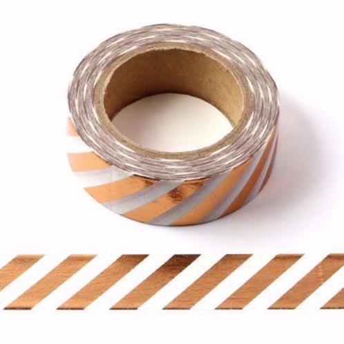 F093- Masking tape métallique 15mm foil blanc rayures cuivre