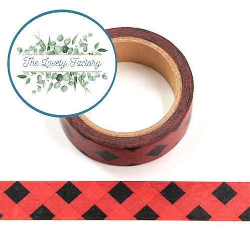 Masking tape quadrillage noir et rouge 15mm x 10m