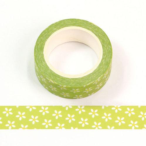 Masking tape 15 mm motif vert pâquerettes