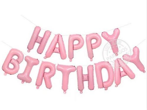 Bannière de ballons  HAPPY BIRTHDAY 40 cm rose mylar suspension anniversaire