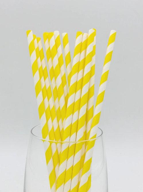 25 pailles papier rayure jaunes