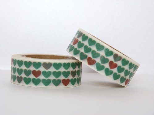 W009 - Masking tape coeurs verts et rouges