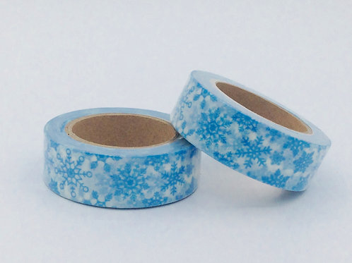 W-  Masking tape blanc flocons bleus design  15m