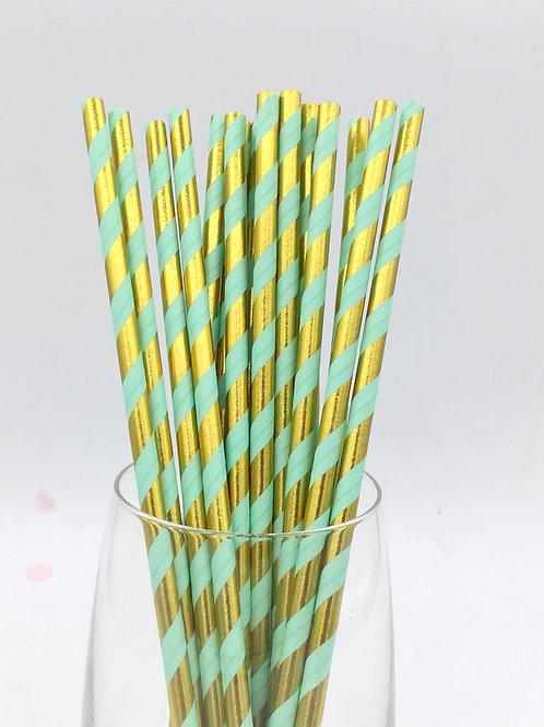 25 pailles papier rayures dorées métalliques et vertes