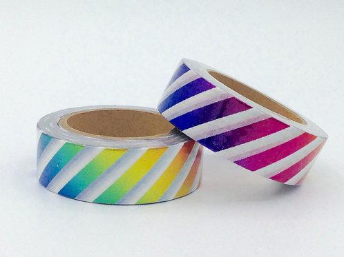 F090- Masking tape foil rayures arc en ciel multicolores