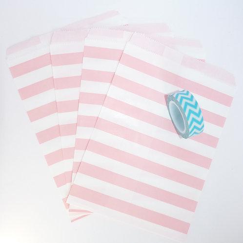 Lot de 12 sachets papiers blanc rayures rose clair candy bar