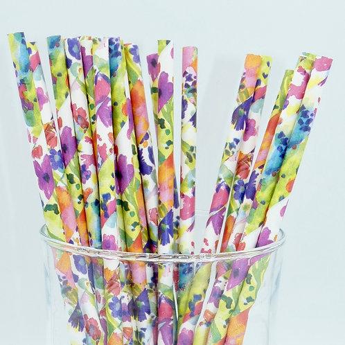 25 pailles papier fleurs