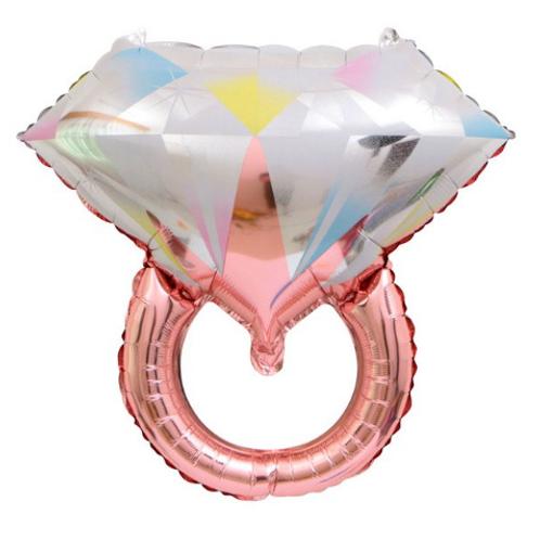 Ballon mylar bague solitaire diamant  Rose gold