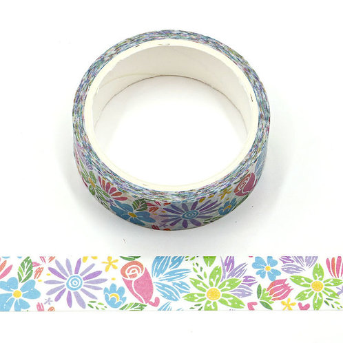 W496 - Masking tape 5m fleurs d'été