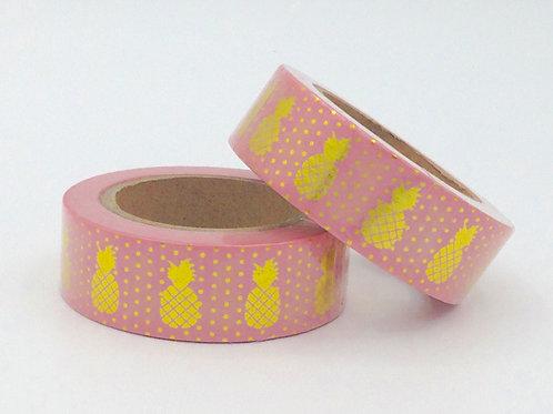 F055 - Masking tape foil rose ananas doré