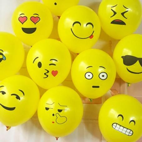 10 Ballons latex jaune émoji 30 cm fête fun