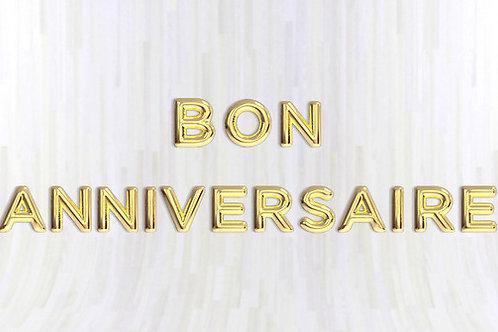 copie de Bannière Ballons Lettres 40 cm Mylar Doré Or BON ANNIVERSAIRE