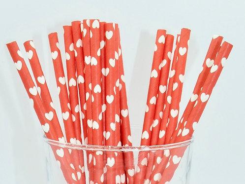 25 pailles papier rouge coeur blanc