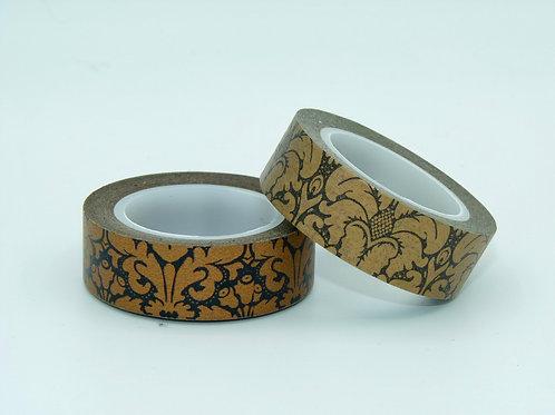 W153 - Masking tape motif floral cuivre et noir
