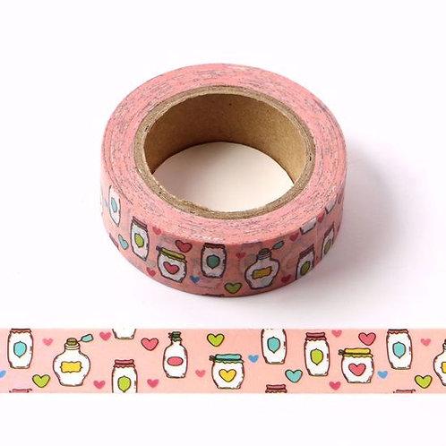 W346-  Masking tape mason jar rose coeur bocal I pink mason jar washi tape