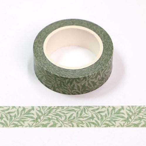 Masking tape fleurs rattan vertes 15mm x 10m