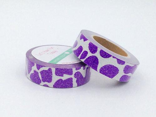 G022 - Masking tape paillettes violet tâches argent  glitter