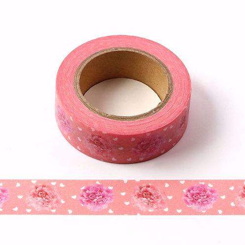 Masking tape 10m rose pivoines