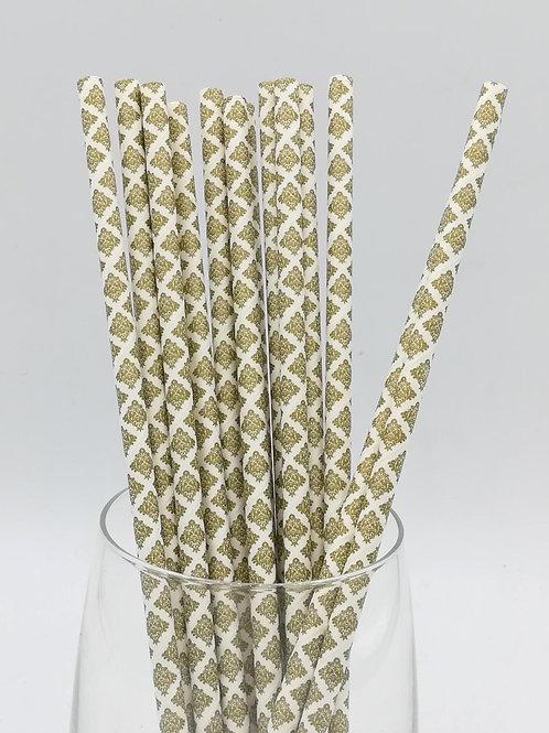 25 pailles papier blanc damask dorés