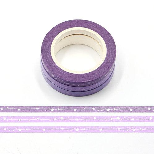 3 Masking tape foil métallique étoiles violet