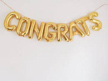 Ballons bannière CONGRATS Mylar dorée or suspension félicitations