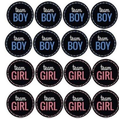 24 stickers Team GIRL et Team Boy pour votre fête Gender Reveal/ fête prénatale