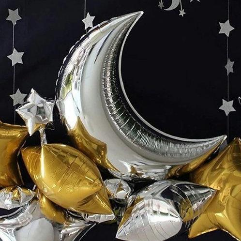 Ballon hélium forme lune argent 90 cm