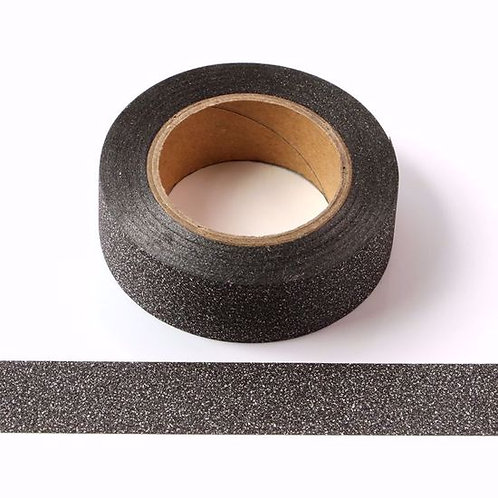 Masking tape paillettes noir glitter 15mm x 5m