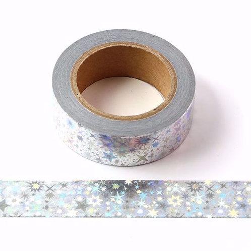 F111 - Masking tape métallique 15mm foil argent étoiles holographiques