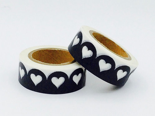 W299 - Masking tape noir dentelle coeur blanc