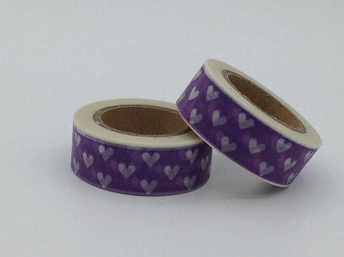 W008 - Masking tape violet coeurs blancs