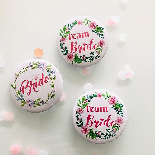 Badge pour EVJF mariée et Team bride en motif floral