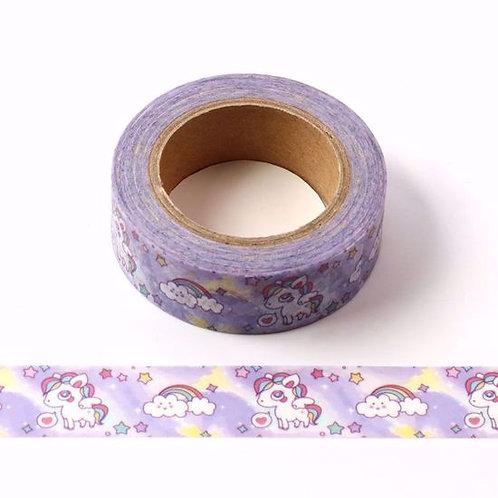 Masking tape licorne enfant fond violet 15mm x 10m