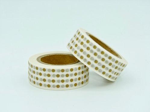 W046 - Masking tape blanc pois cuivre