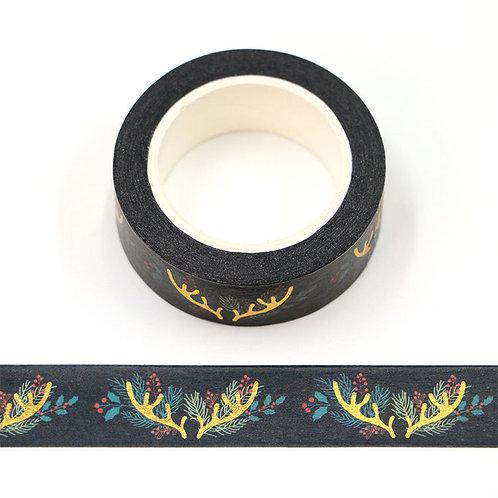 Masking tape  métallique 15 mm motif tête de rêne dorée