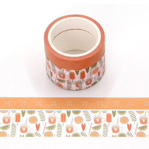 Pack de 2 masking tape parfumés - Odeur Orange - agrumes, glace coeur