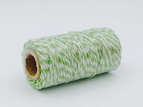 BT002 - Bobine de 20m de Baker's Twine vert/blanc 12 plis