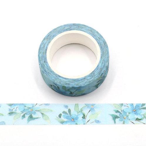 Masking tape paillettes fleurs bleues  glitter 15mm x 3m
