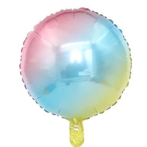 Ballon aluminium rond  arc en ciel 45 cm - remplissage hélium
