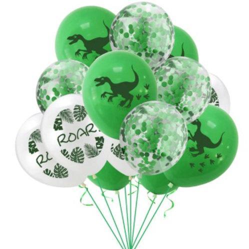 12 Ballons latex sur le thème annive dinosaure : dinausore, confettis verts,ROAR