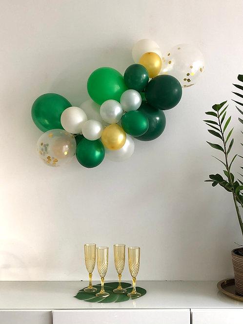 Kit arche de ballons - Guirlande de ballons vert blanc or - JUNGLE