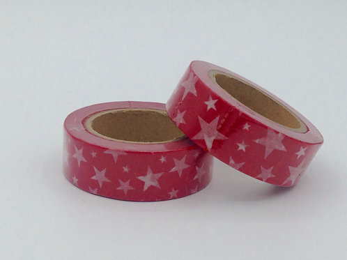 W270-  Masking tape rouge étoiles blanches