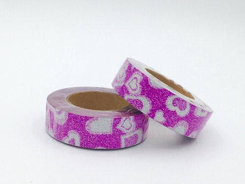 G034 - Paillettes rose coeurs argentés glitter
