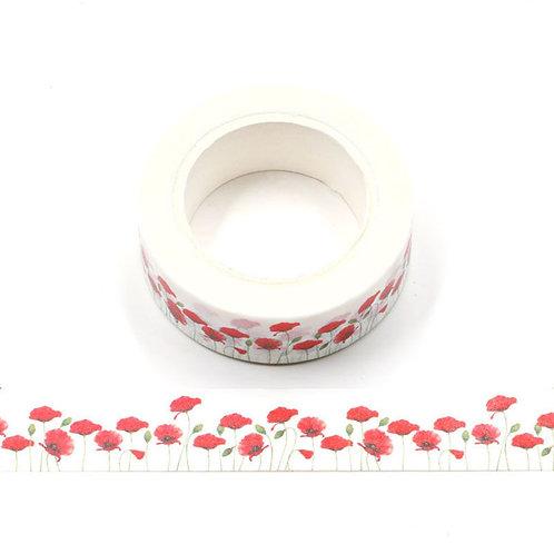 Masking tape fleurs coquelicots 15mm x  10m