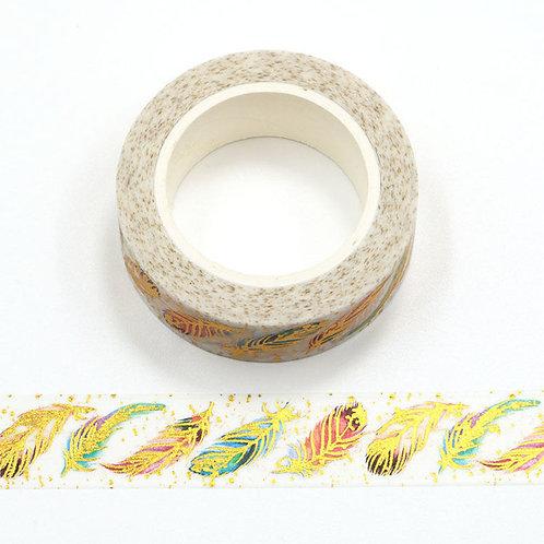 Masking tape  métallique 15 mm motif plumes dorées
