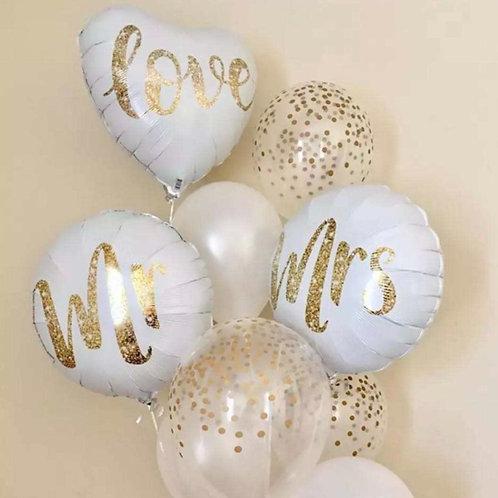 Ensemble Mr &Mrs in love  : 3 ballons mylar et 10 ballons imprimés confettis